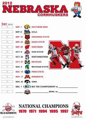 "graphic regarding Michigan Football Schedule Printable titled 2012 printable routine -- HuskerMaxâ""¢"
