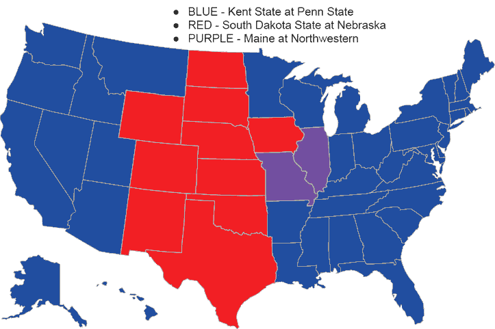 BTN cable coverage map, SDSU vs. Nebraska, 2013 -- HuskerMax™