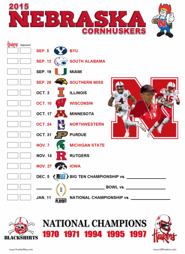 """graphic about Michigan Football Schedule Printable referred to as 2015 printable program -- HuskerMaxâ""""¢"""