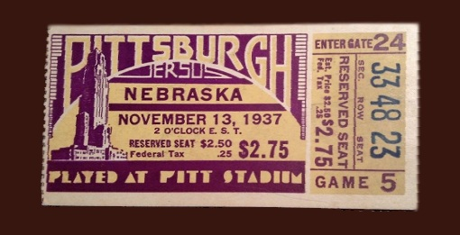1937 Pittsburgh-Nebraska ticket