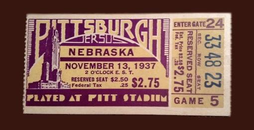 1937 Pittsburgh-Nebraska ticket