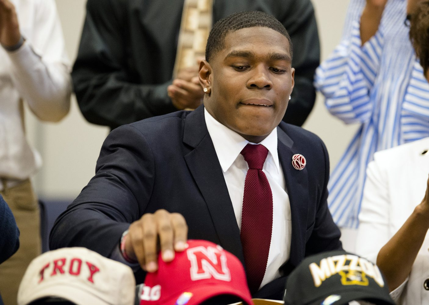 It's the Nebraska hat for Cameron Taylor.