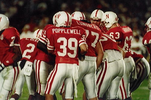 Brett Popplewell breaking the Husker huddle