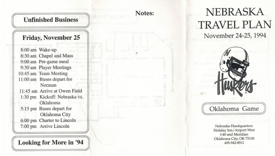 Husker/OU Game Travel Plan '94