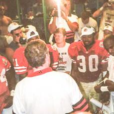 Tom's final locker room victory celebration