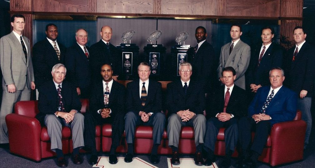 Tom Osborne and staff 1997
