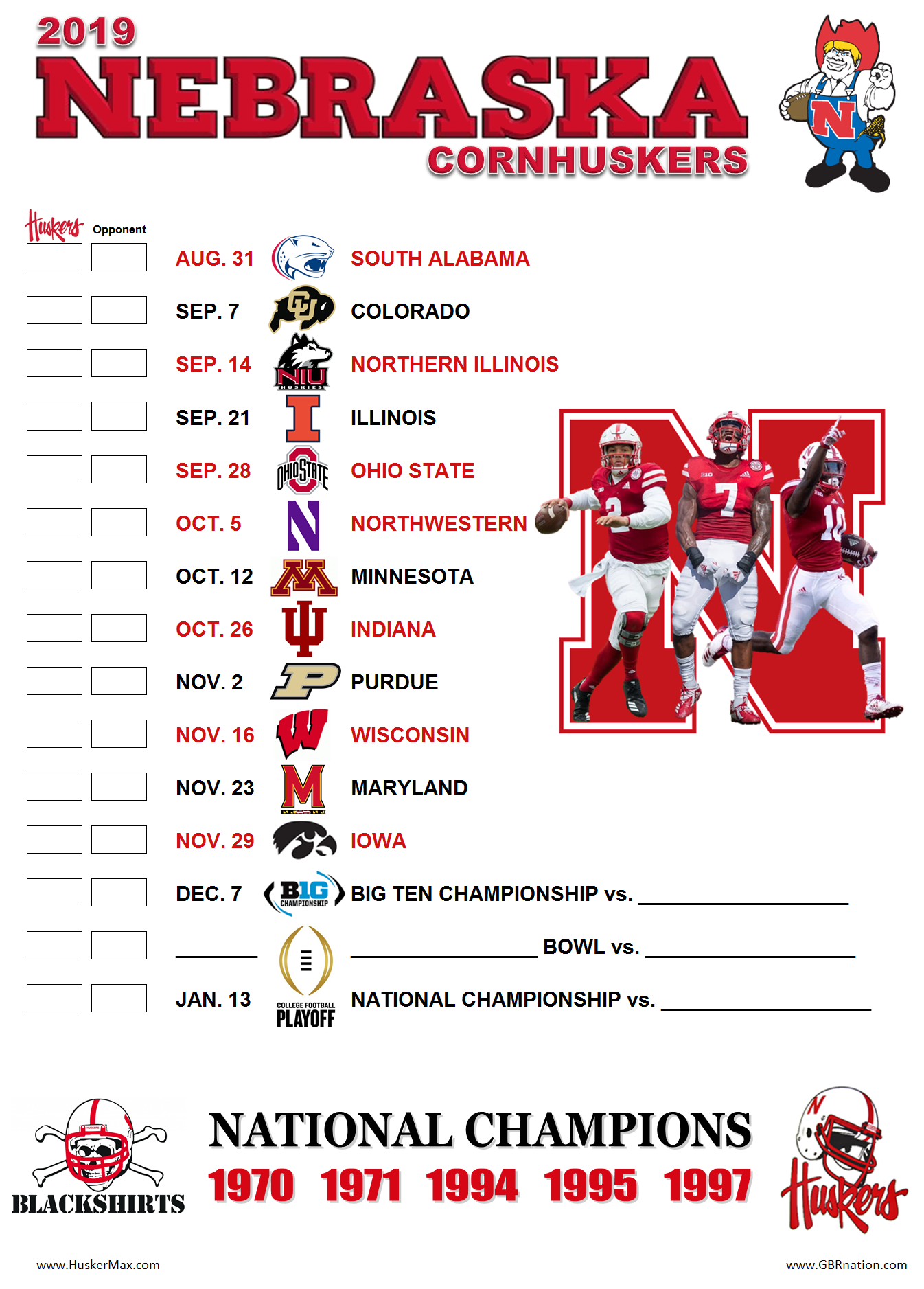 graphic about Ohio State Football Schedule Printable named Printable 2019 Nebraska soccer timetable August 19, 2019