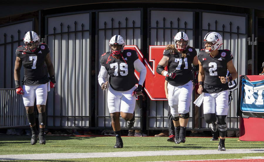 Nebraska's captains enter the field