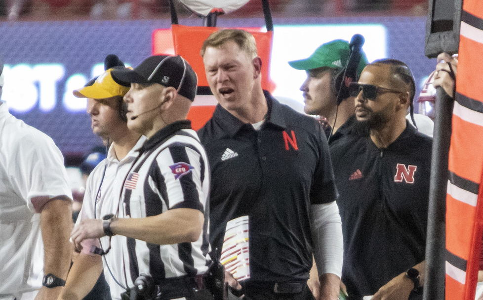 Scott Frost and referee