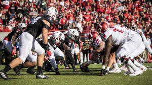 Nebraska defense lines up against Indiana