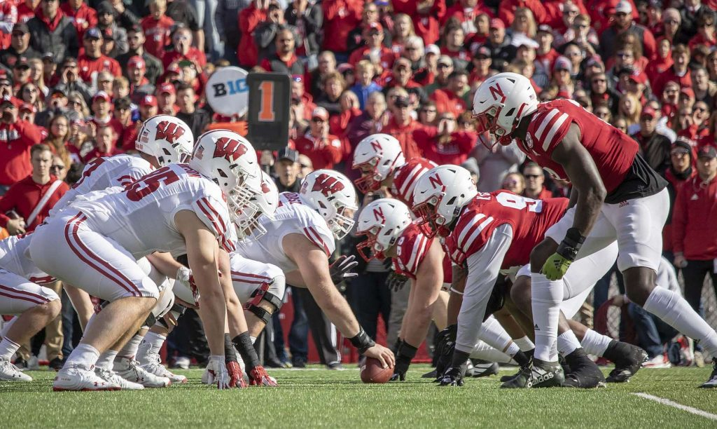 The Blackshirts line up against the Wisconsin offense