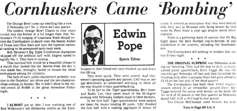 1971 Orange Bowl, Edwin Pope column par 1