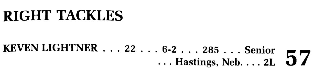 Keven Lightner, 22, 6-2, 285, Senior, #57, Hastings, Neb., 2L