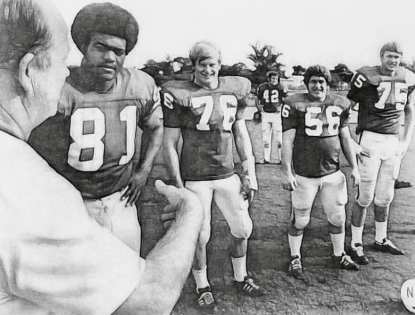 Bob Devaney with defensive line