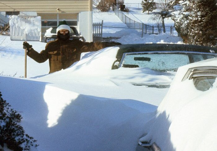 Joe Hudson with snow shovel